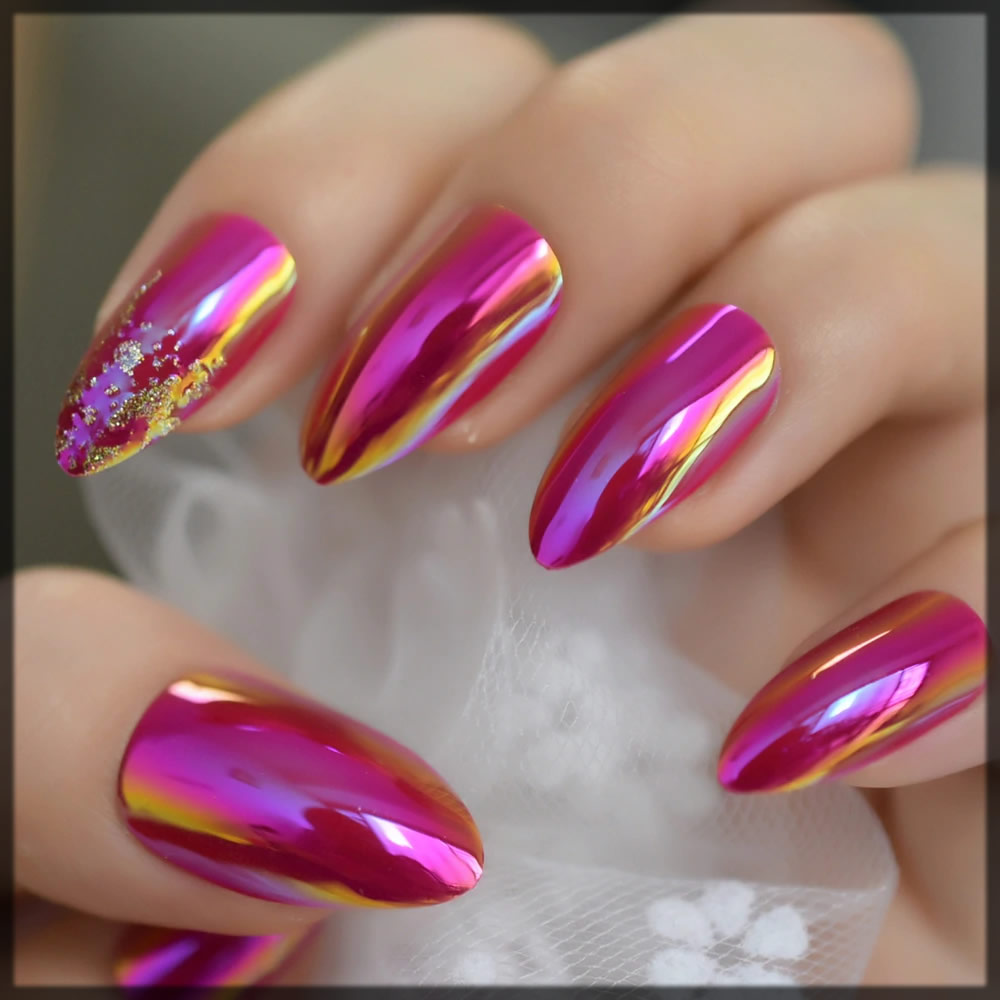 metallic nail art design