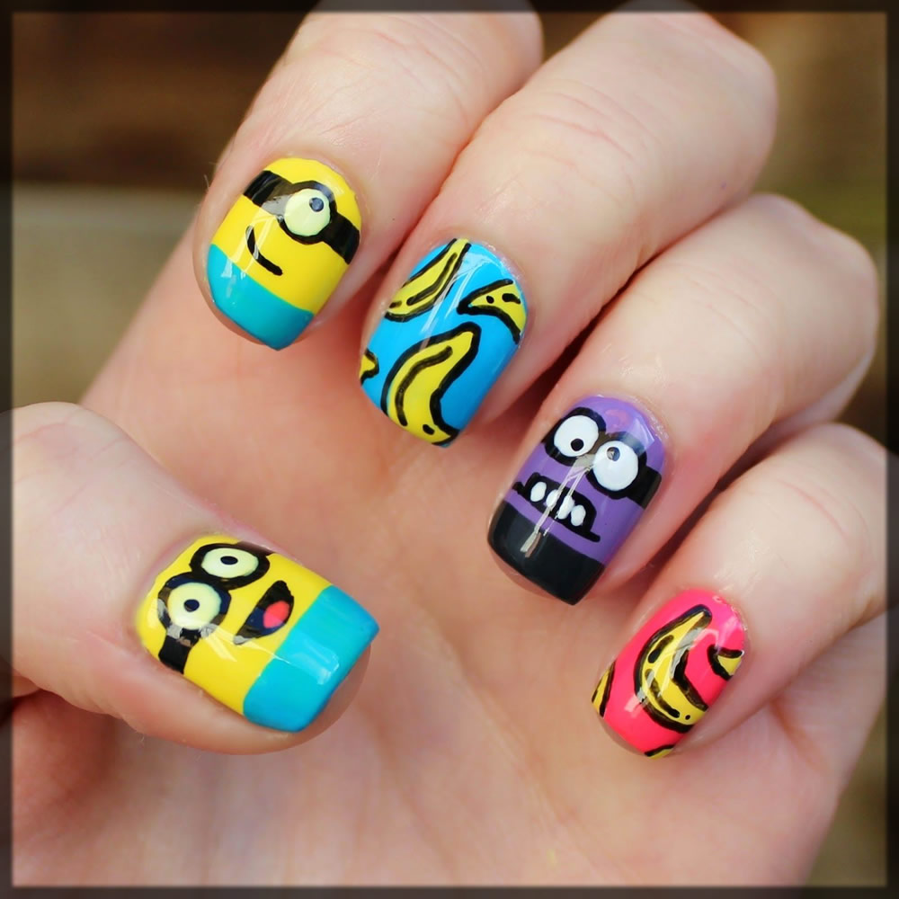 minion stickers on nails