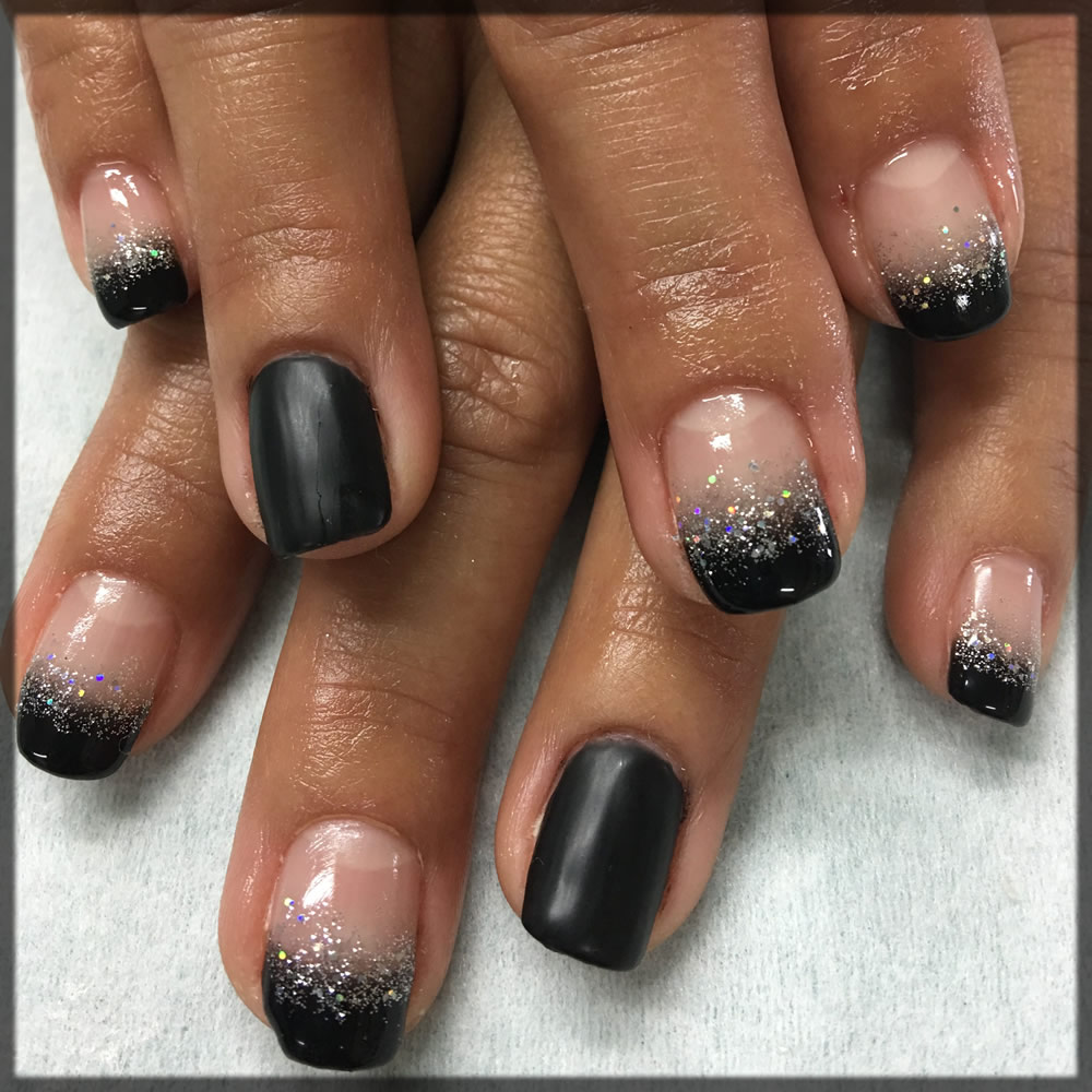 mbre black nail art design