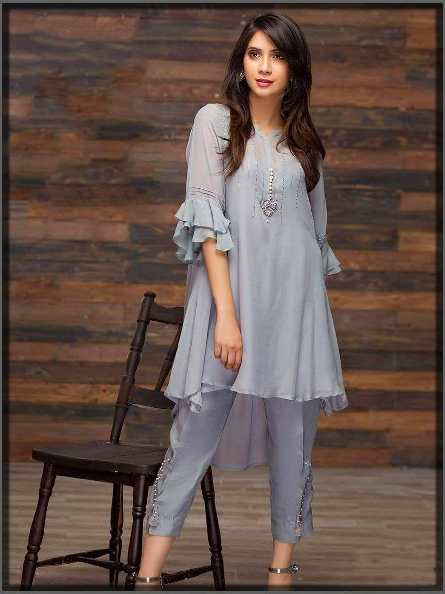pakistani chiffon stuffed semi-formal short frock with capri
