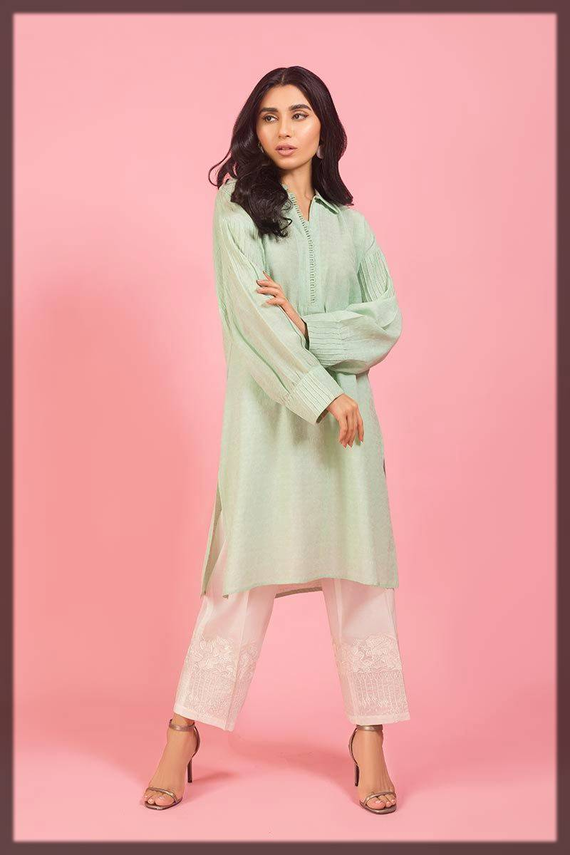 pretty light shaded shirt for winter season by Gul ahmed