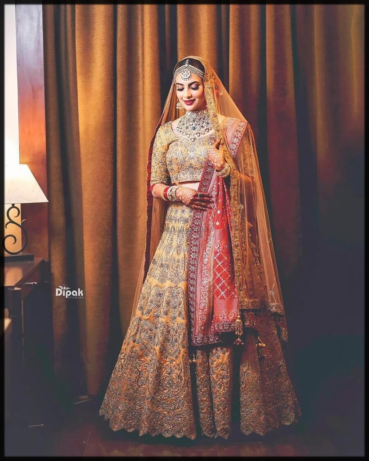 red and yellow bridal dress designs