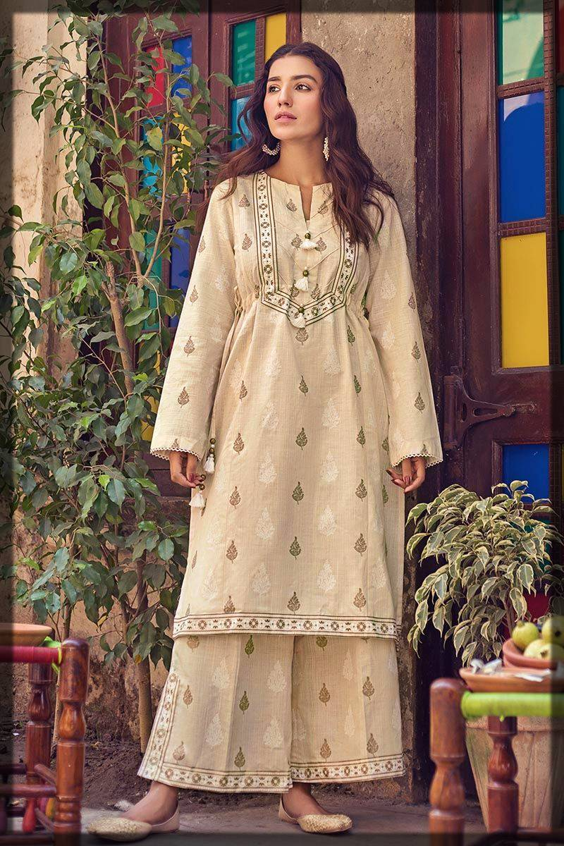 single unstitched shirt by Gul ahmed winter dresses collection