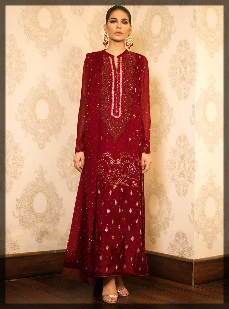 stunning red long shirt by zainab chottani formal dresses