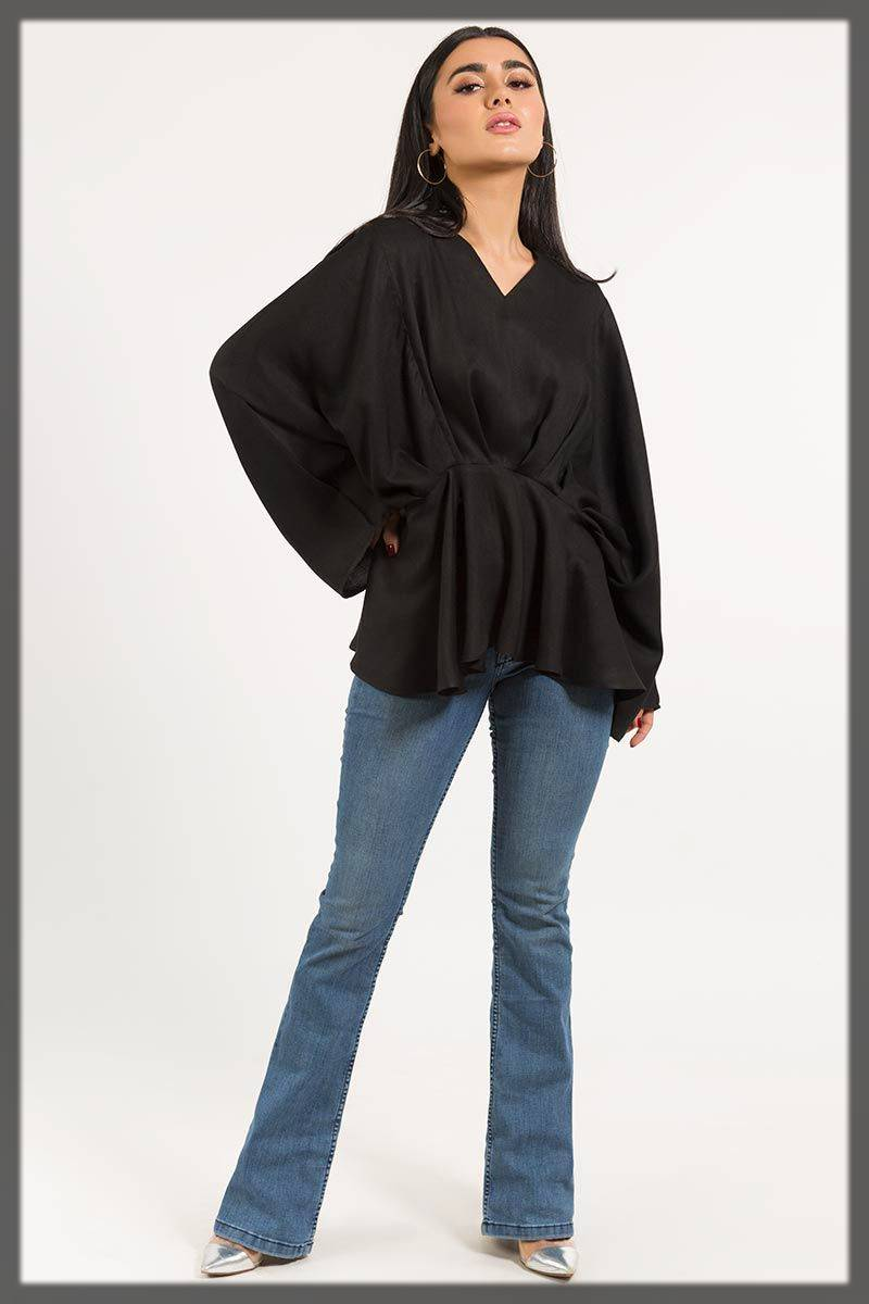 stylish top in black - Gul ahmed winter dresses