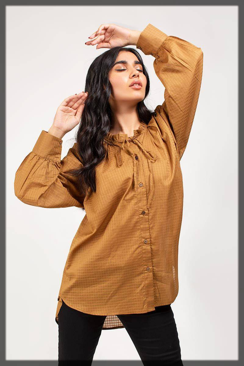 stylish top in rust - Gul Ahmed winter dresses collection