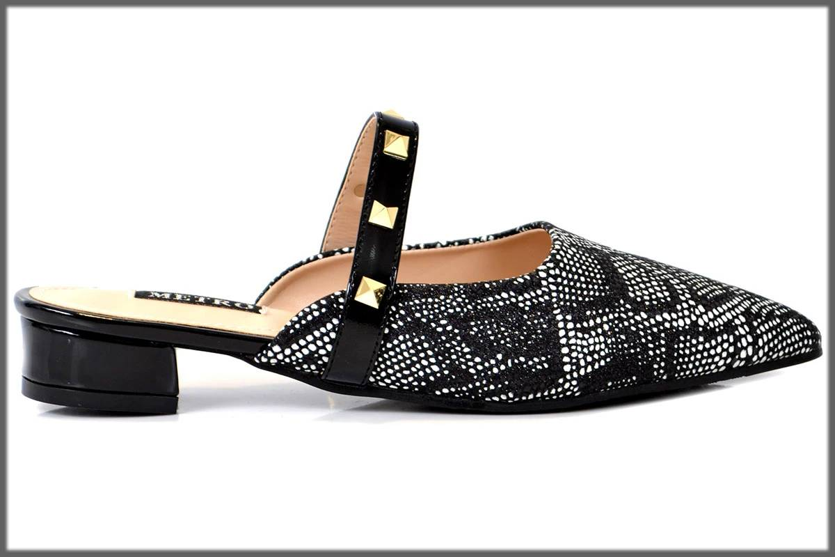 trendy black back open shoes by metro