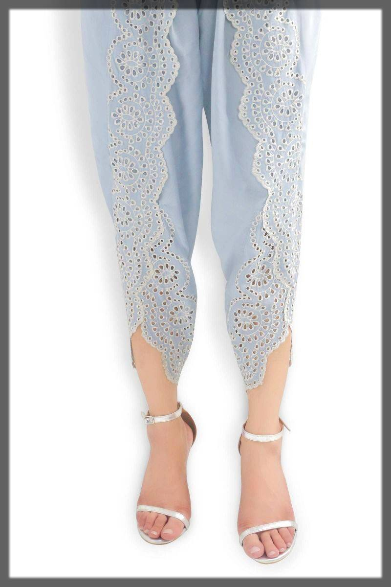 tulip shalwar with fancy lace