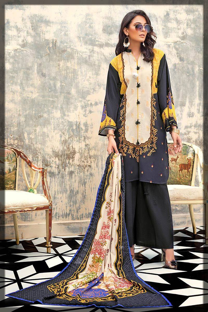 unstitched full suit by Gul Ahmed for winters in black