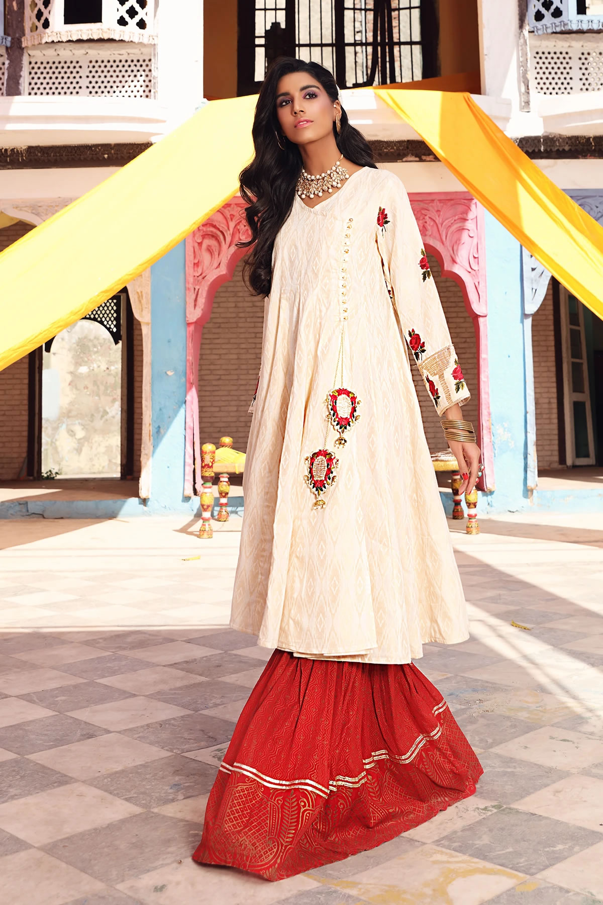 ethnic white frock with gharara