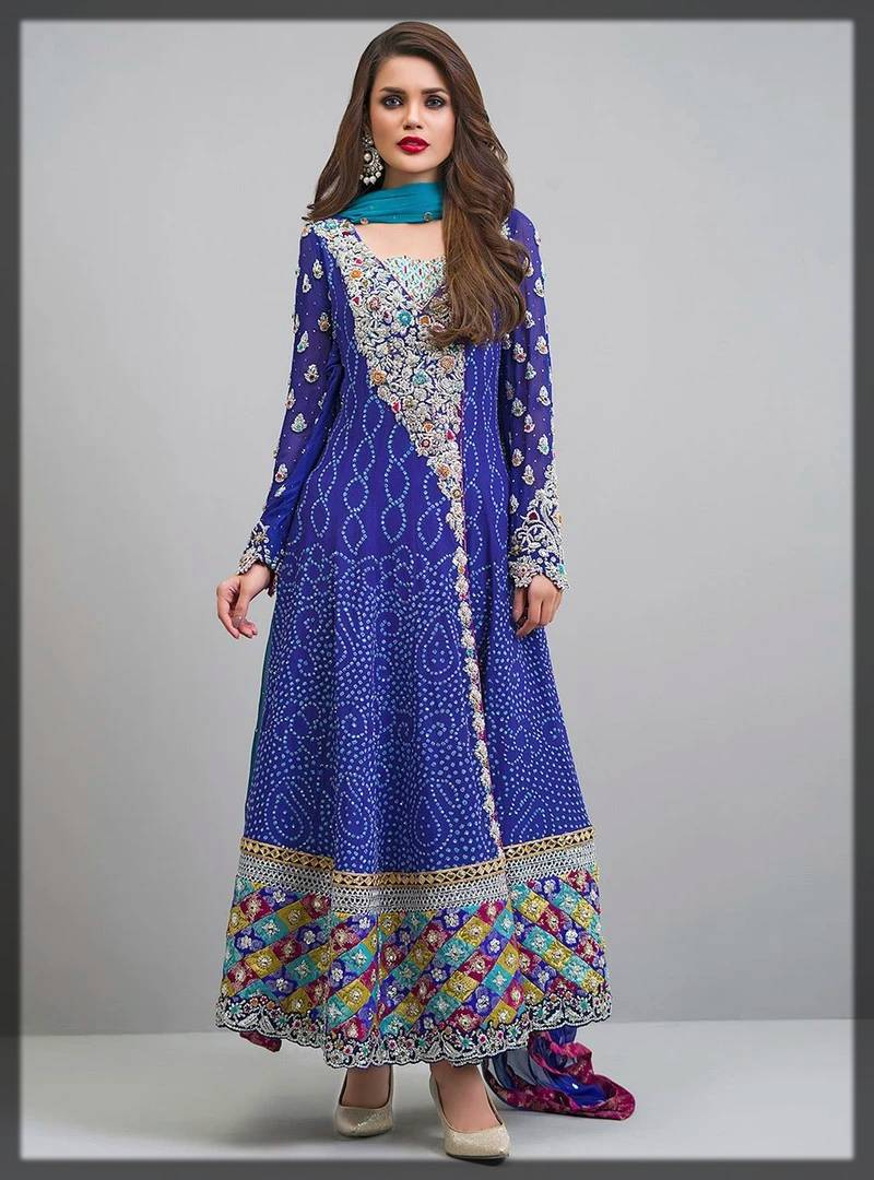 zainab chottani formal dresses - long frock in blue