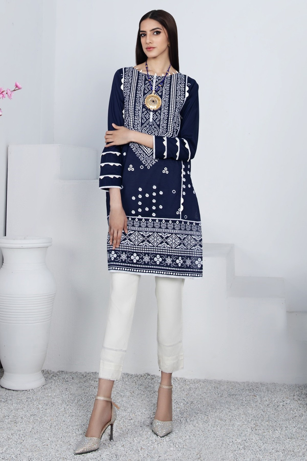 Navy blue printed attire