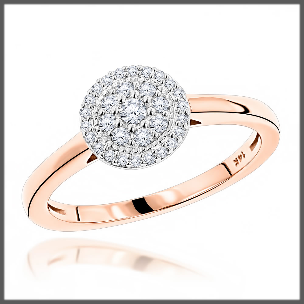 Round Cluster Engagement Ring
