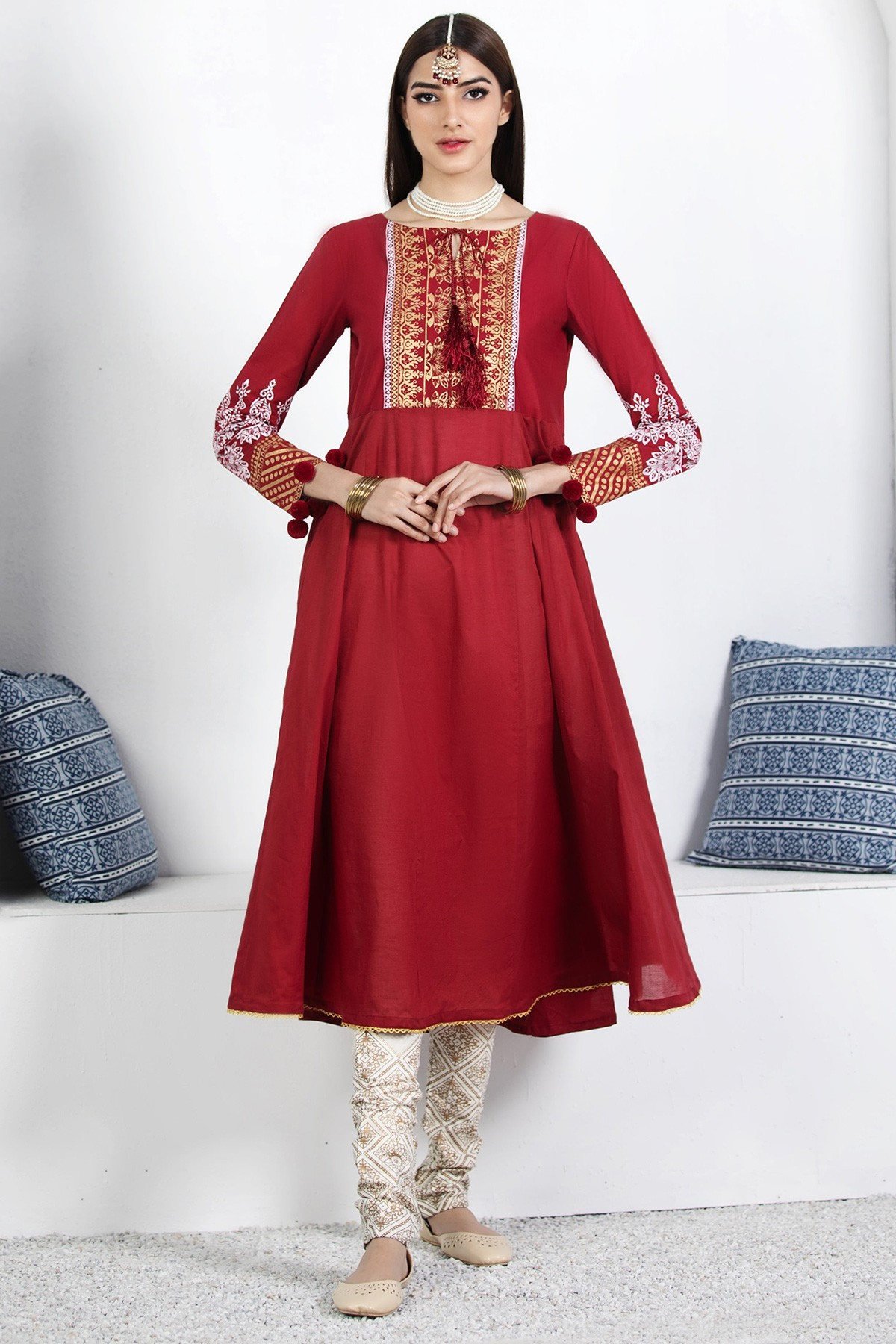 red long frock