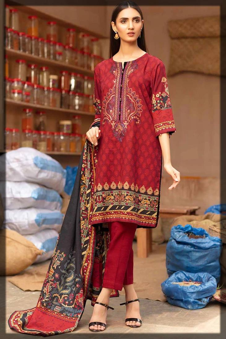 2-Piece shirt and dupatta for winters in red