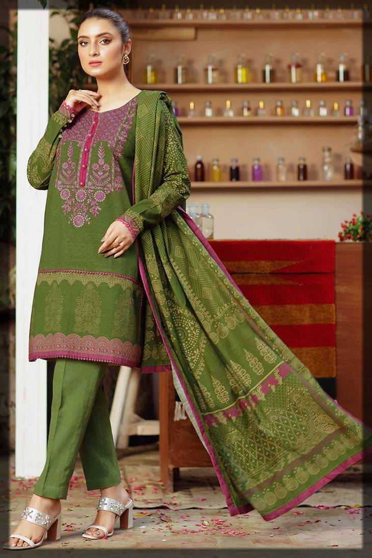 2-Piece shirt and dupatta for winters