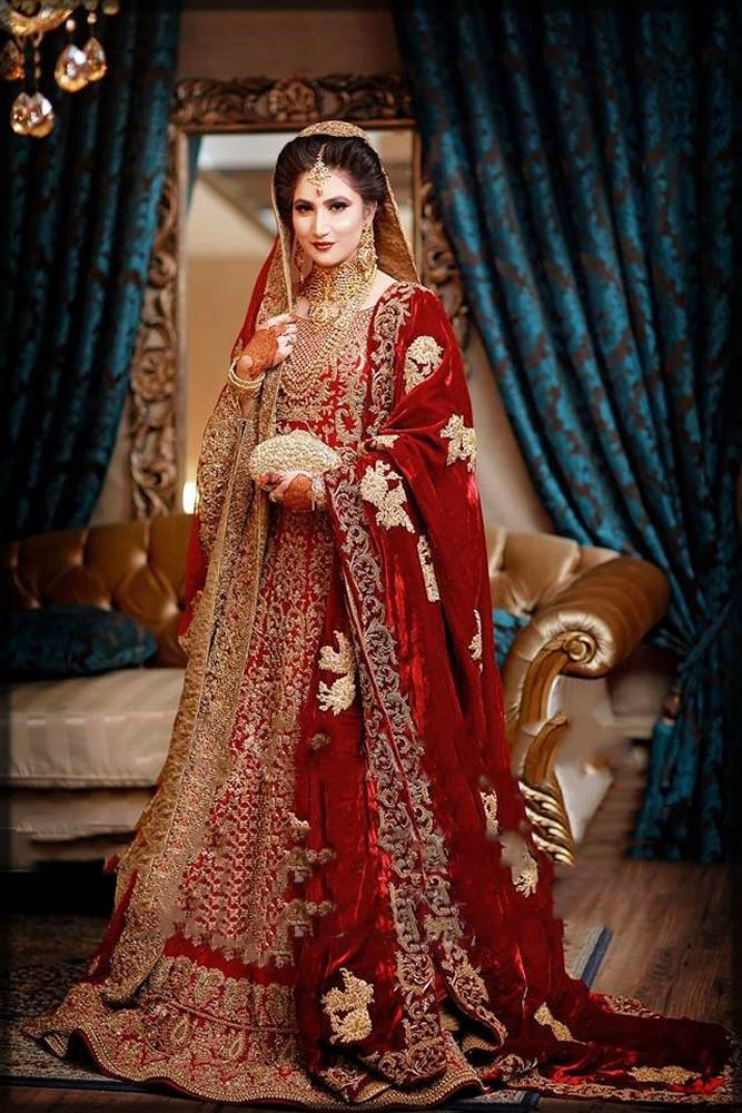 bridal lehenga with frock and shawl
