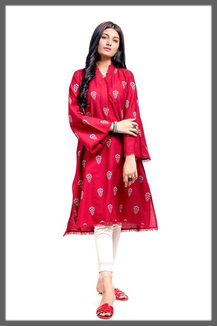bright shaded tunic in red by ego