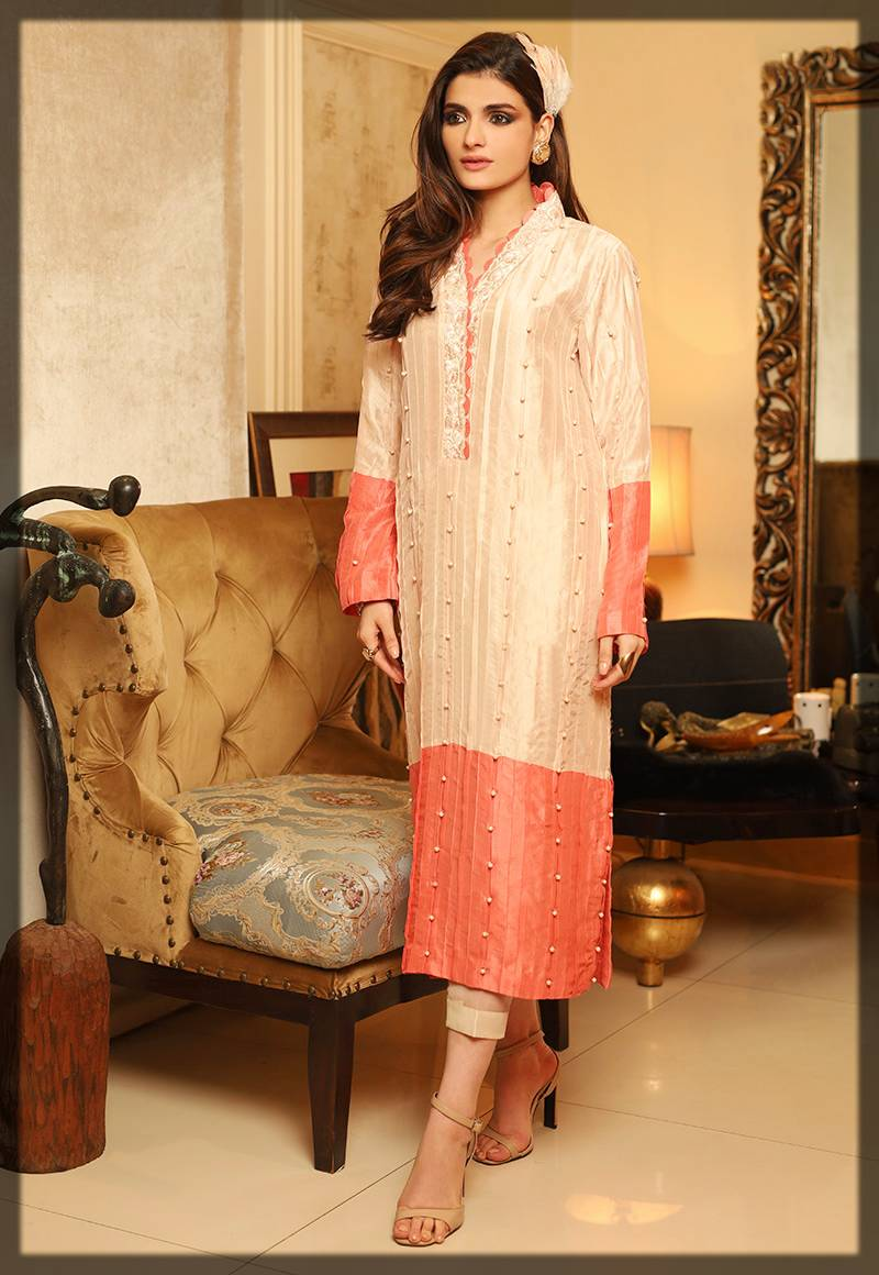 chic formal dress with orange border - asim jofa winter collection