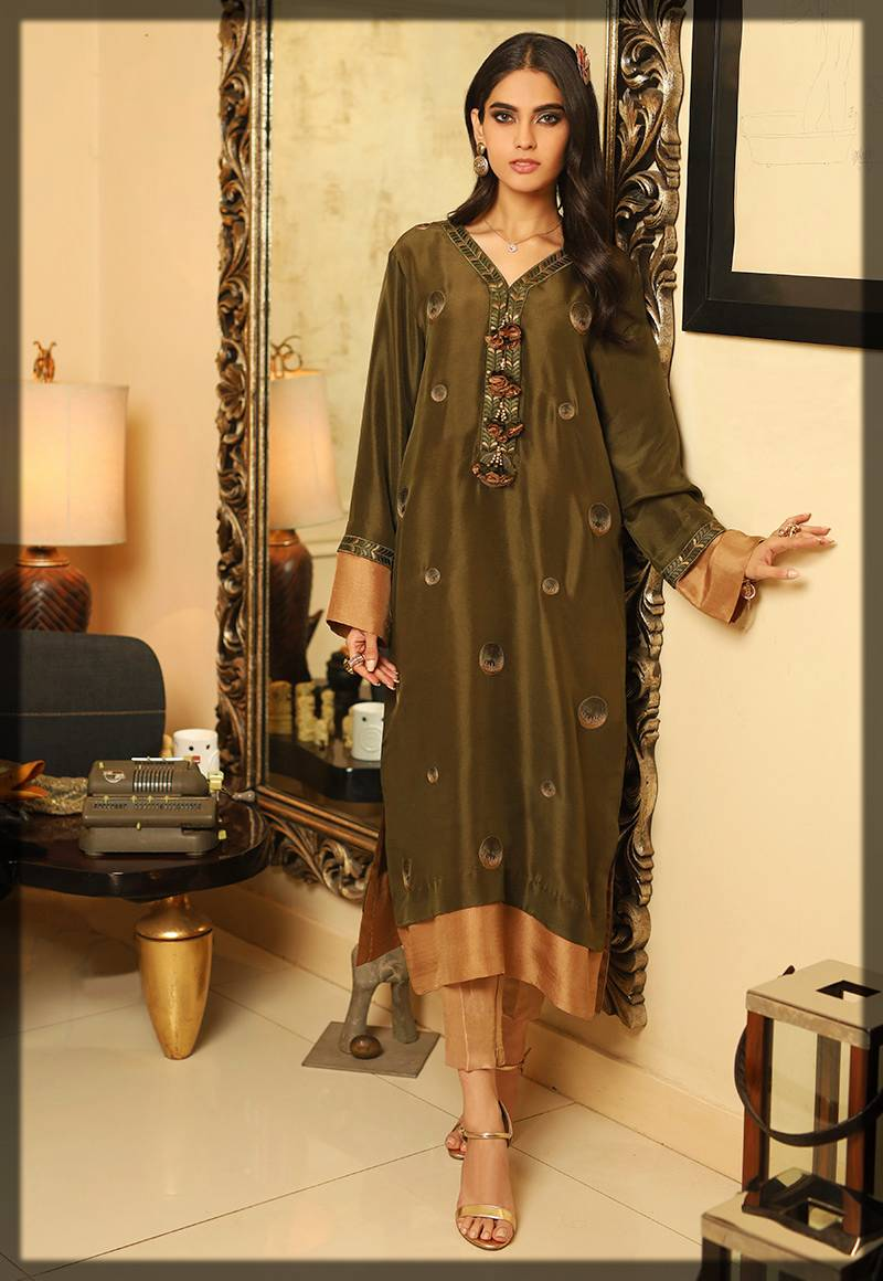 chic formal suit in green - asim jofa winter collection