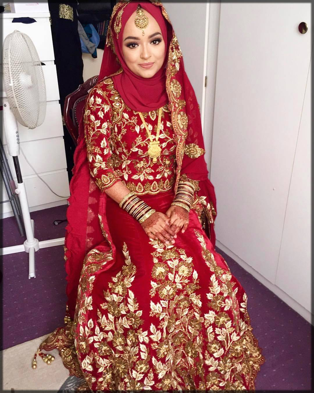decent bridal dupatta style with hijab