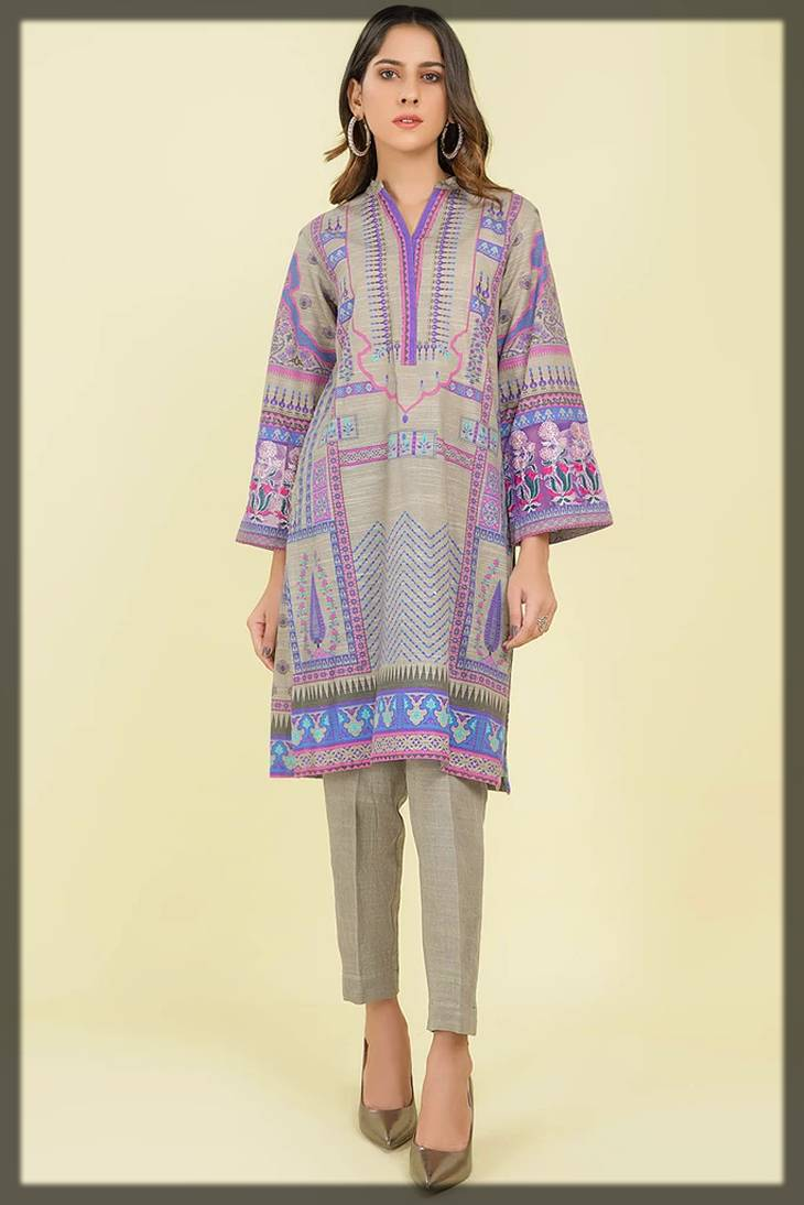 embroidered shirt piece in khaddar - warda fall winter collection
