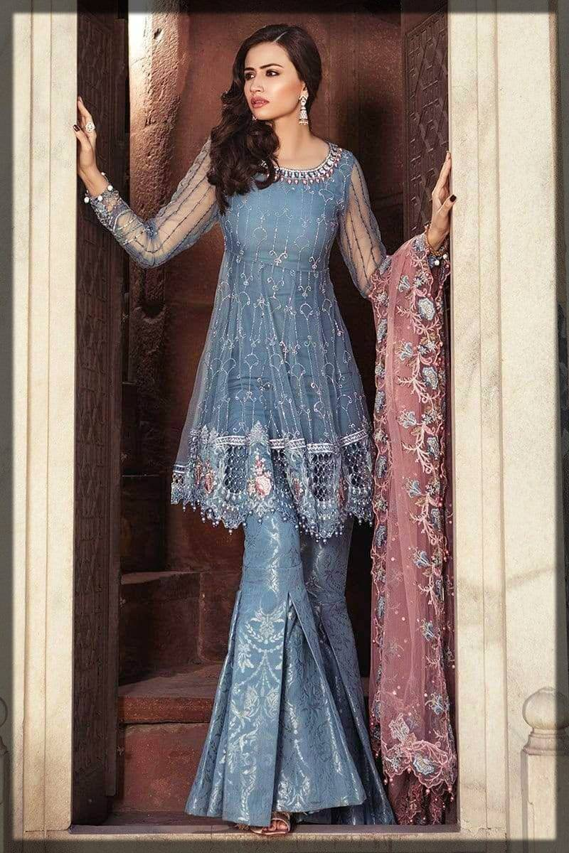 formal wear Pakistani peplum dress with gharara