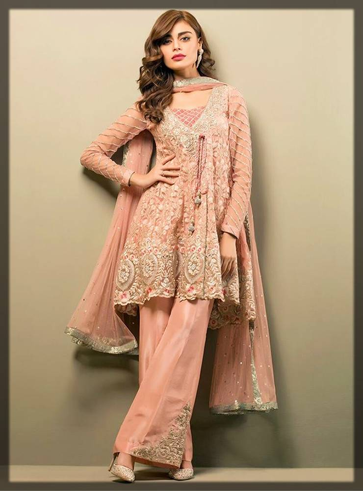 formal wear peplum dresses for Pakistani girls