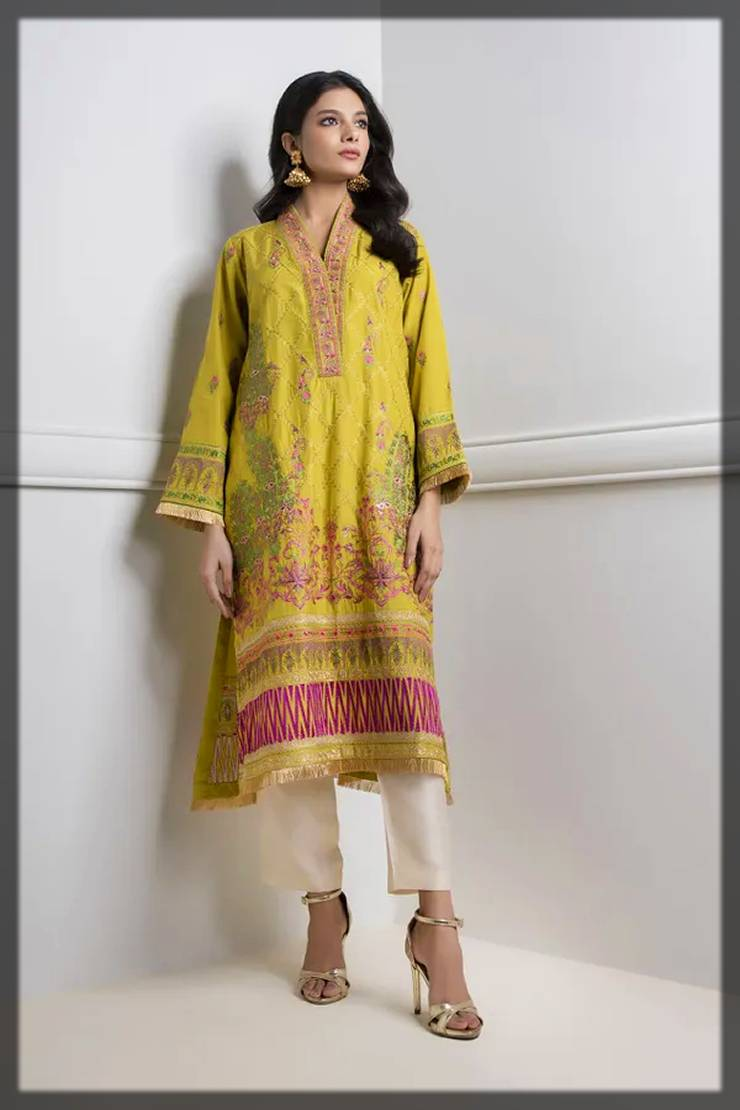 khaadi fall winter khas collection - decent kurta in mustard