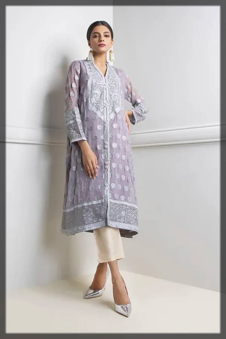khaadi fall winter khas collection - fancy kurta in grey
