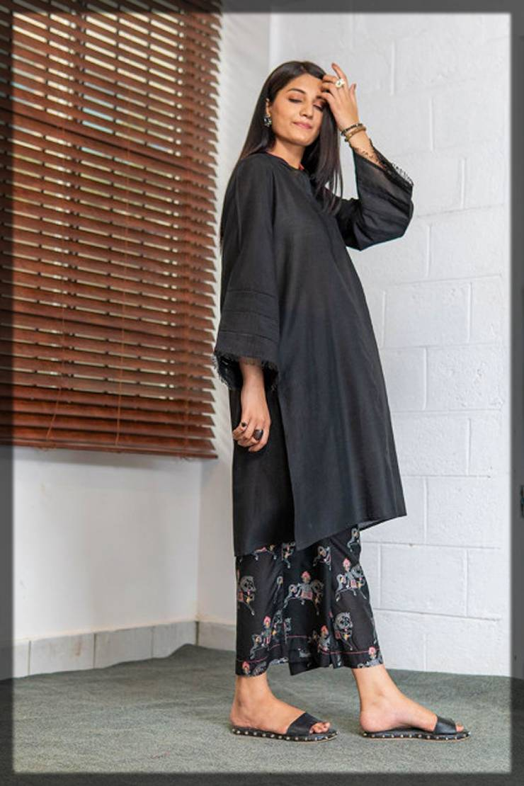long shirt with printed trousers for winters - 2 piece