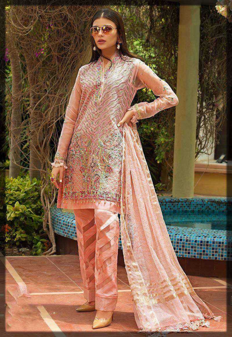 organza dress in pink - asim jofa winter collection