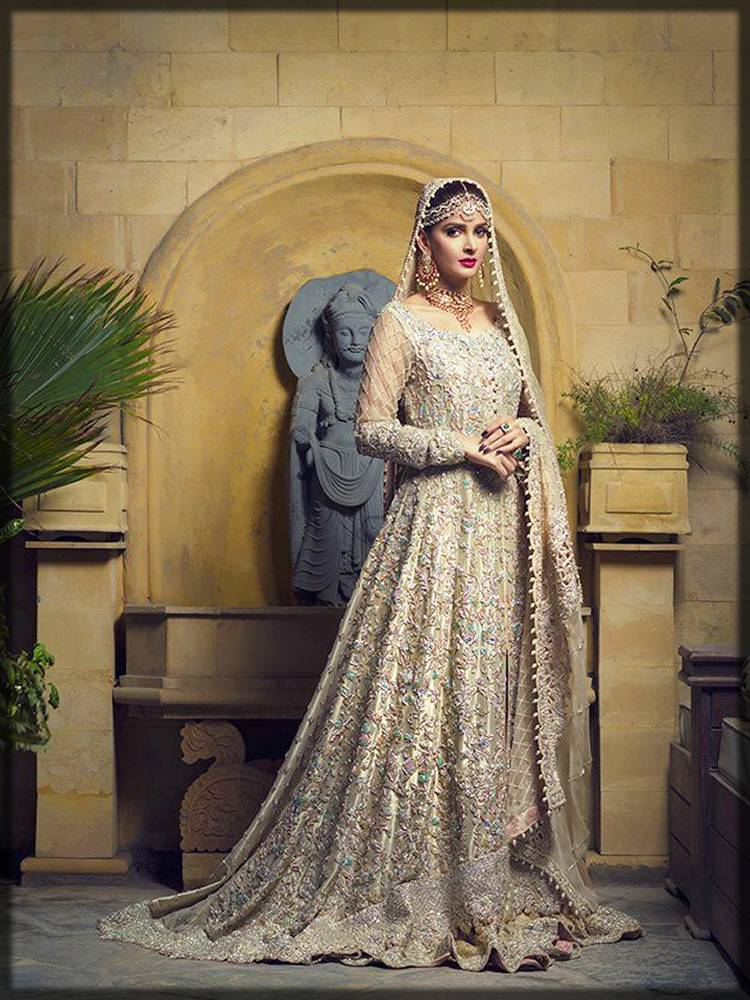 pakistani fancy frock for walima bride