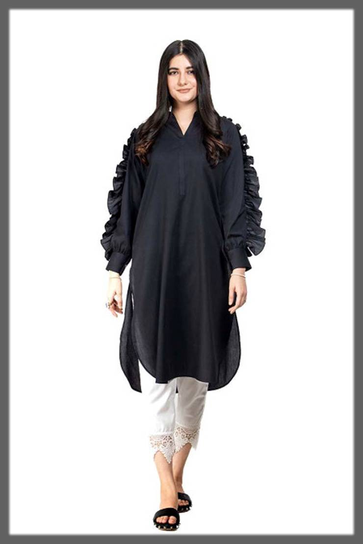 plain fur sleeved tunic for girls by ego fall winter collection