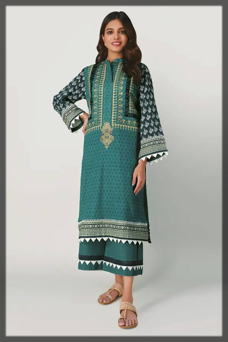 unstitched 2-piece fall winter collection by khaadi - green