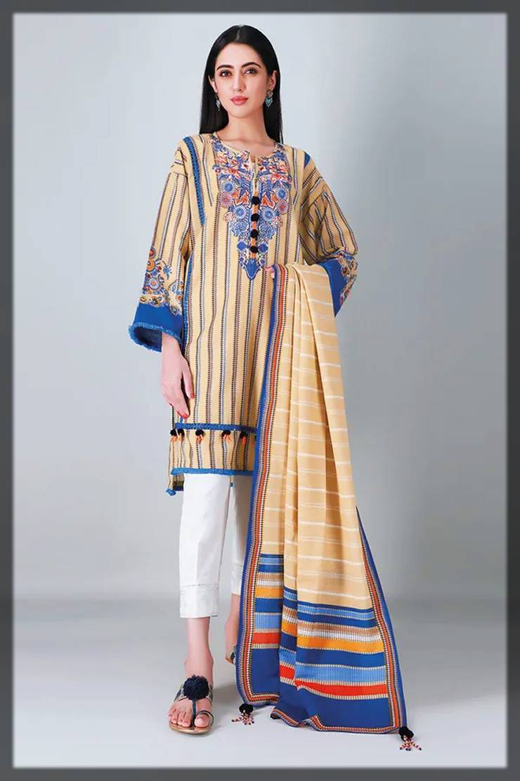 unstitched 2-piece khaadi fall winter collection - shirt dupatta