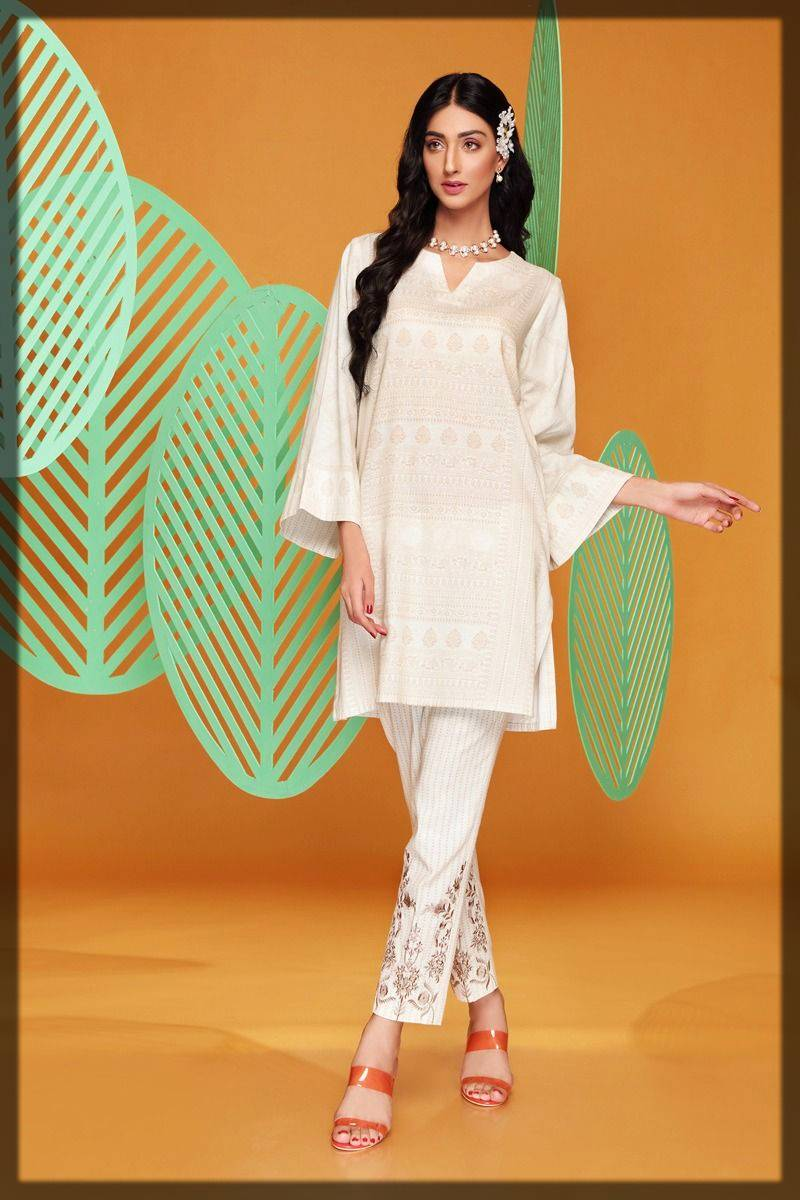 2-piece suit by nishat linen winter pret - plain shirt with amazing embroidered trouser