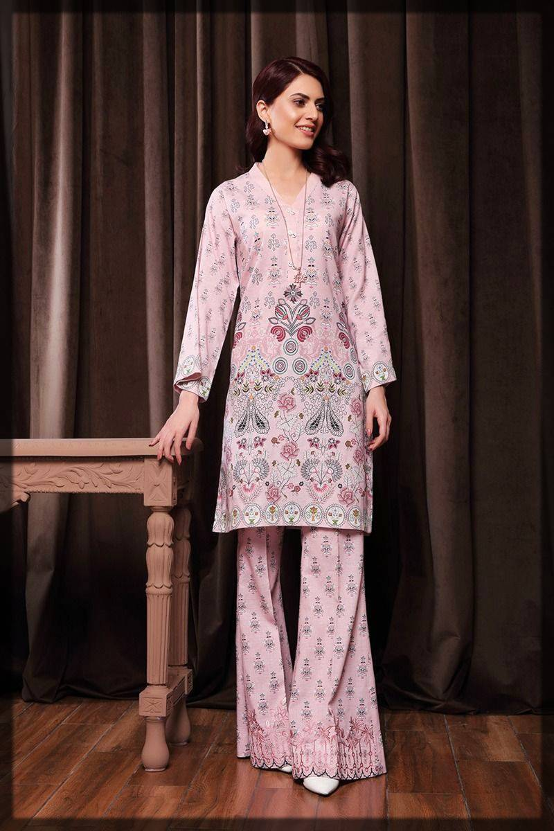 2-piece suit by nishat linen winter pret - plain shirt with embroidered trousers
