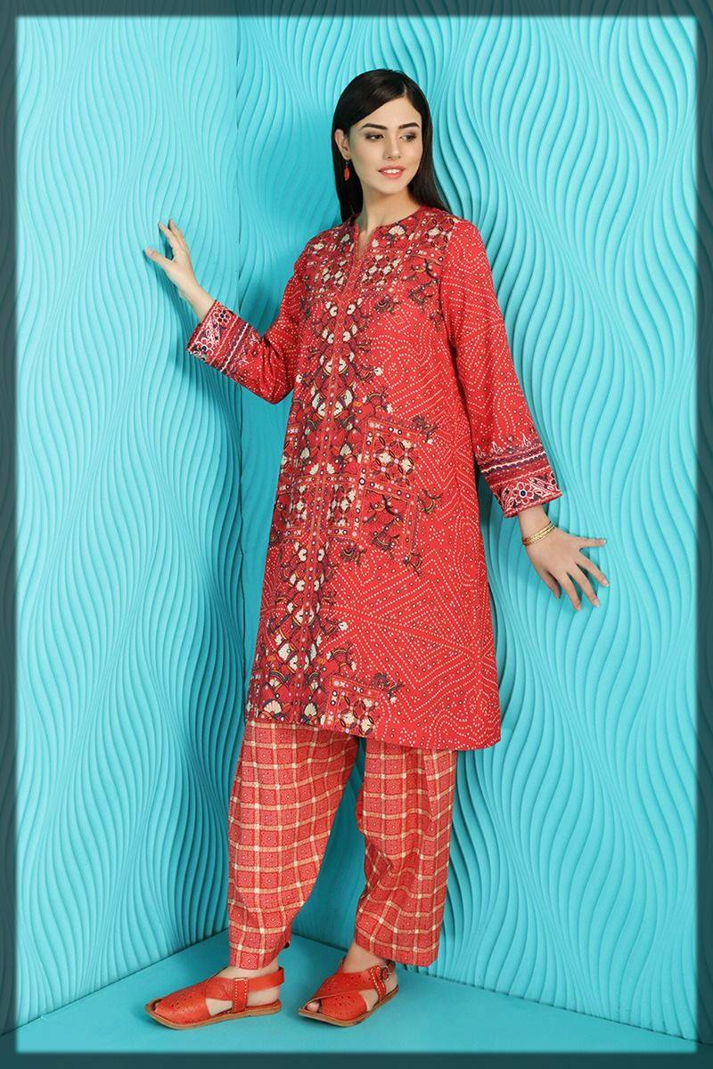 2 piece suit by nishat linen winter pret wear - embroidered shirt with shalwar