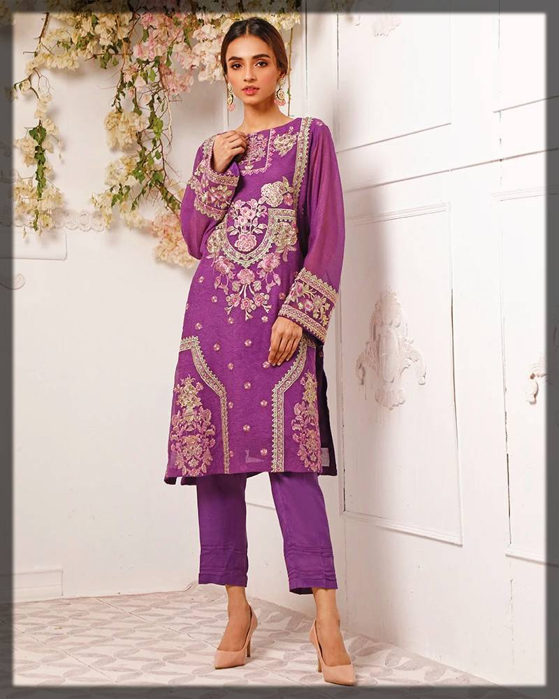 nimsay exclusive collection for formal events - 2-piece shirt and trouser in purple