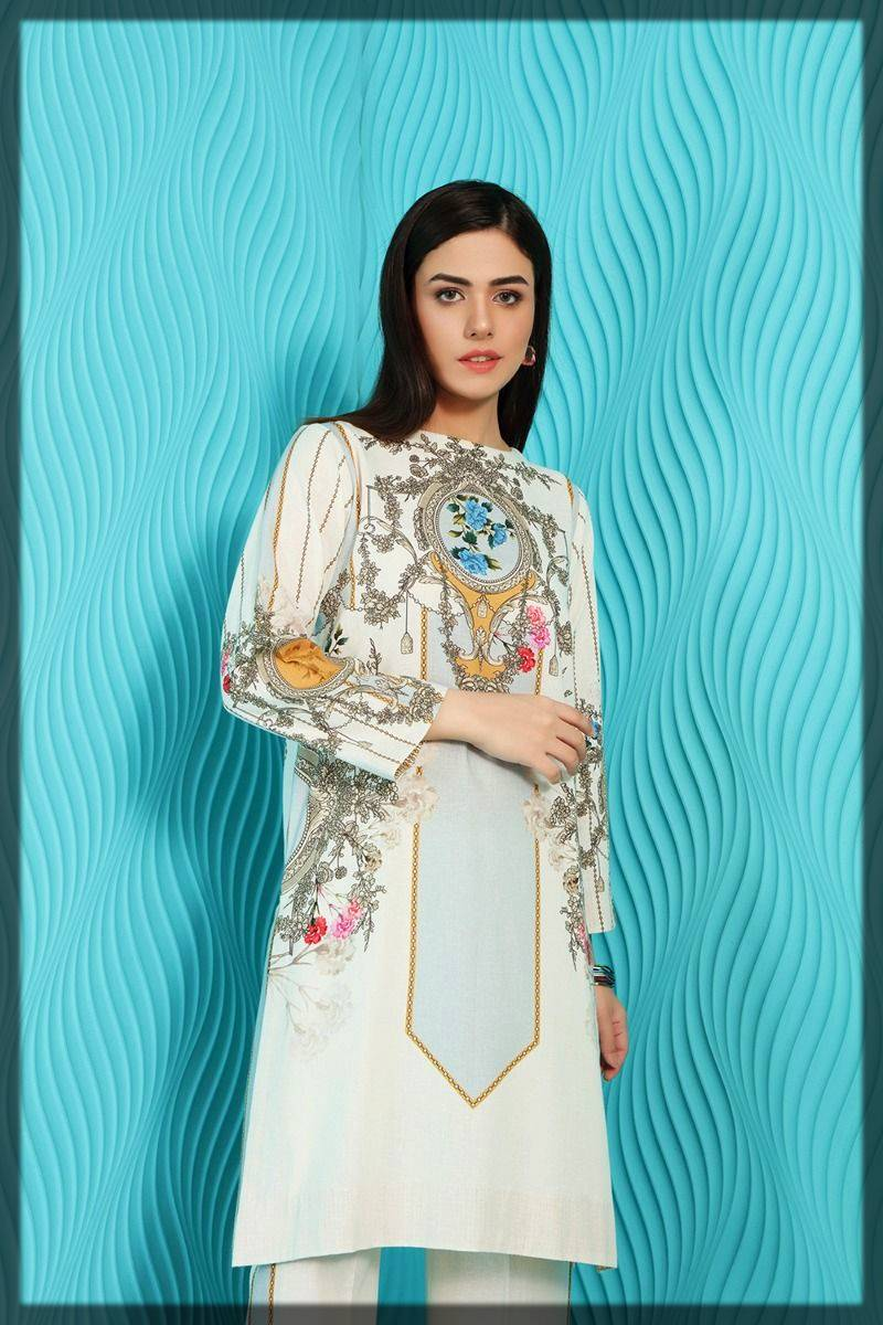 readymade 2-piece printed shirt with trouser - nishat linen winter pret