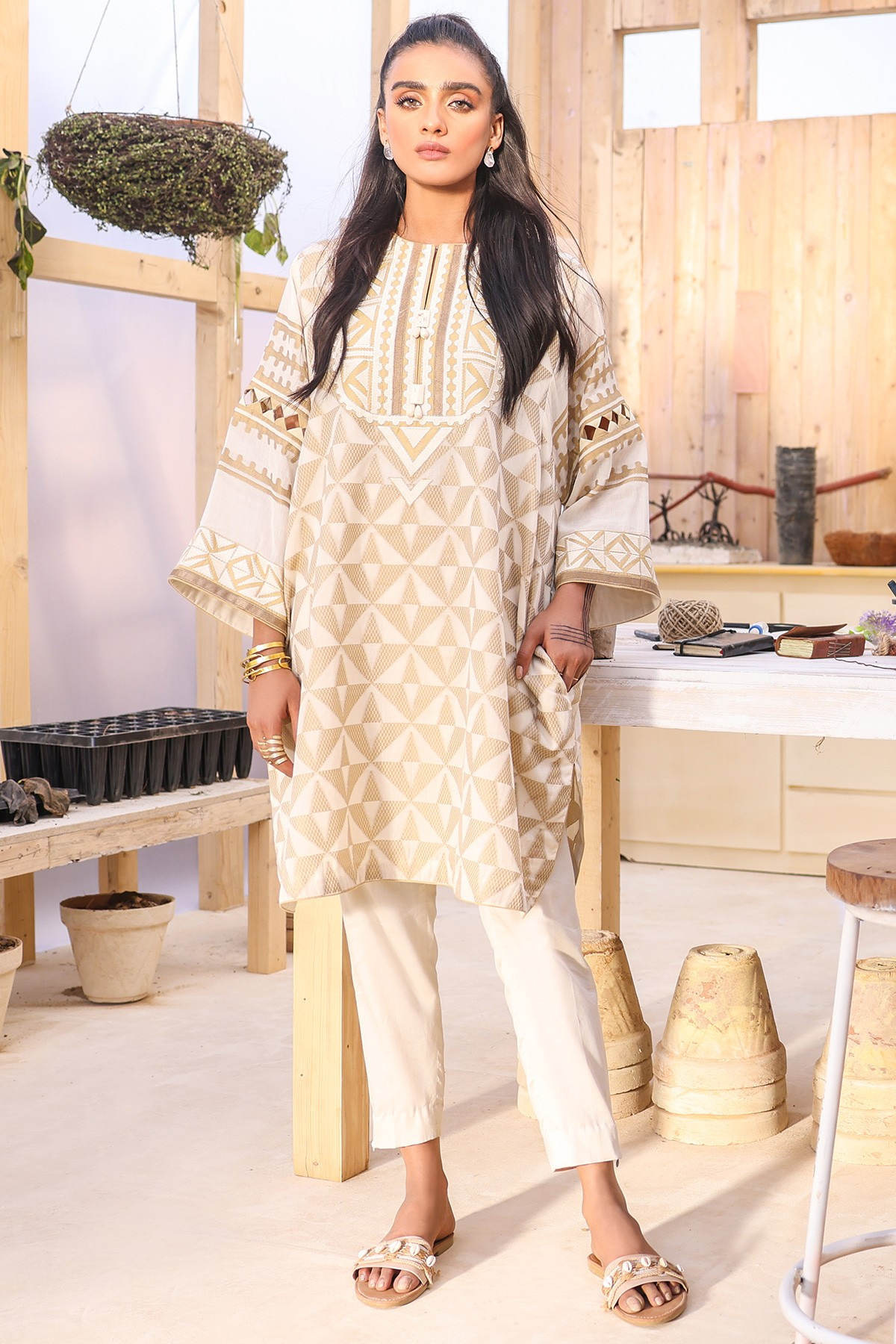 2 Pc white Suit With Cambric Trouser